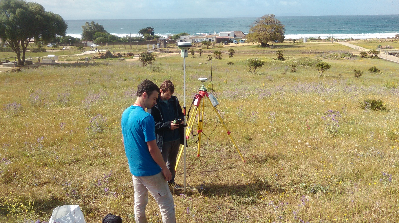 Set up of the Leica VIVA GPS base station and rover, over the survey station in the centre of the archaeological site of Baelo Claudia (photo: K. Strutt)